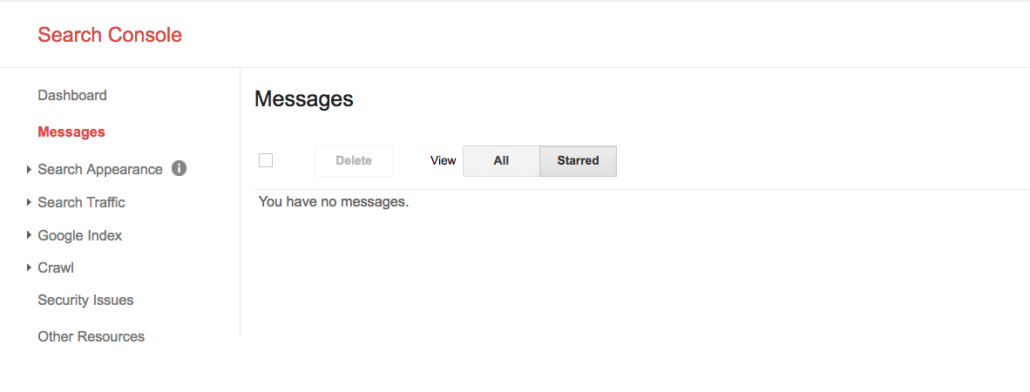 Messages search console